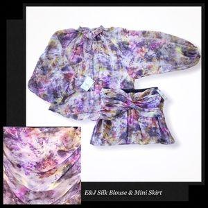 ELIZABETH&JAMES Sheer Silk Blouse & Mini Skirt Set